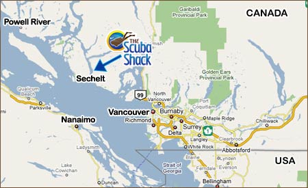 MAP: Overview of the Sunshine Coast, Vancouver Island, Canada and the USA